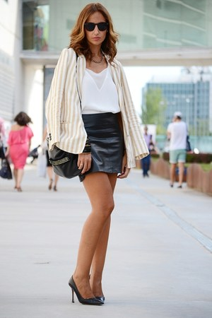 black Mango skirt - cream Zara blazer - off white Mango top