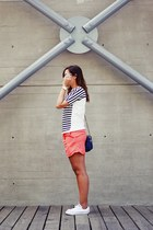 carrot orange Lacoste skirt - navy Lacoste sweater - white Converse sneakers