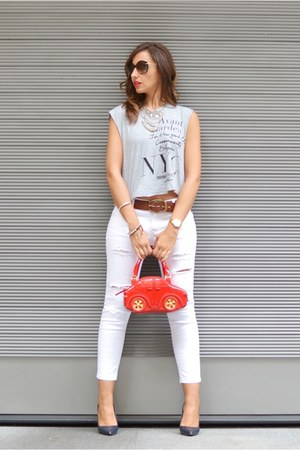 red braccialini bag - white Mango jeans - silver Mango shirt