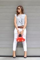 red braccialini bag - white Mango jeans - silver Mango shirt