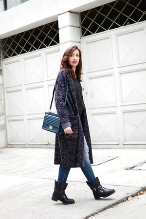 charcoal gray Theory cardigan - navy Zara jeans - blue Bimba & Lola bag