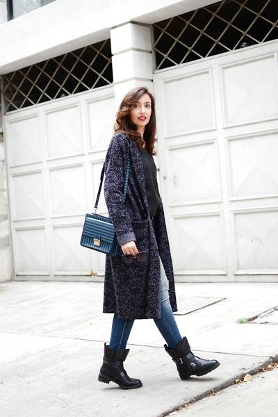 charcoal gray Theory cardigan - navy Zara jeans - blue Bimba & Lola bag