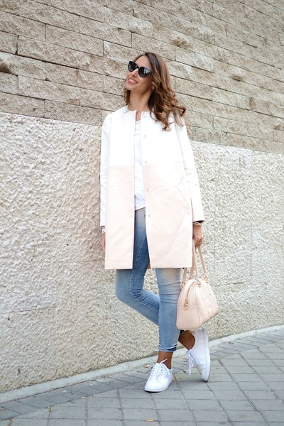 light pink Cacharel coat - periwinkle SuperTrash jeans