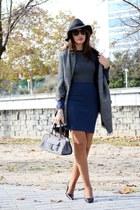 charcoal gray Zara scarf - navy Koralline dress - black Manolo Blahnik heels