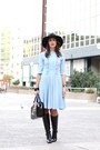 Black-massimo-dutti-boots-light-blue-cacharel-dress-black-zara-hat