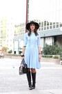 Black-massimo-dutti-boots-light-blue-cacharel-dress-black-zara-hat