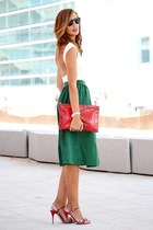 green Zara skirt - red Bimba & Lola bag - ivory Rosa Clara bodysuit
