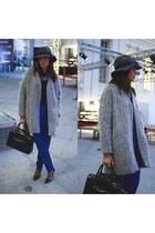 heather gray Zara coat - heather gray bdba hat - blue Zara pants