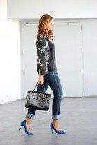 black Zara blazer - navy H&M jeans - black Mango bag - black Massimo Dutti top