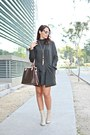 Eggshell-zara-boots-army-green-shein-dress-brown-louis-vuitton-bag