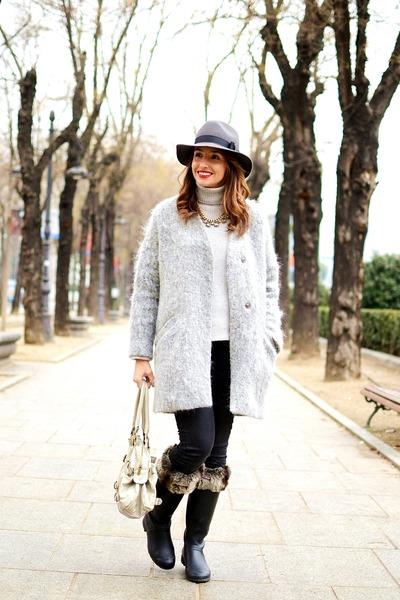 gray Zara coat - black Hunter boots - charcoal gray Zara sweater