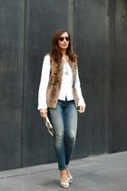 brown Julio vest - blue Zara jeans - light brown calvin klein sunglasses