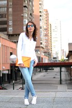 sky blue Superdry jeans - ivory Superdry blouse