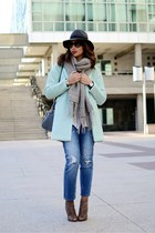 light blue Sheinside coat - blue Mango jeans - black Prada sunglasses