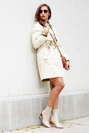 cream Zara boots - cream riverside coat