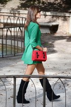 green Sheinside dress - black Stradivarius boots - red Mira la Marela bag