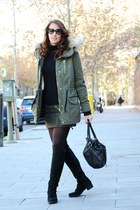 black Prada sunglasses - black Menbur boots - army green c&a coat