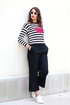 red Trucco sweater - black Zara pants - ivory Promod sneakers