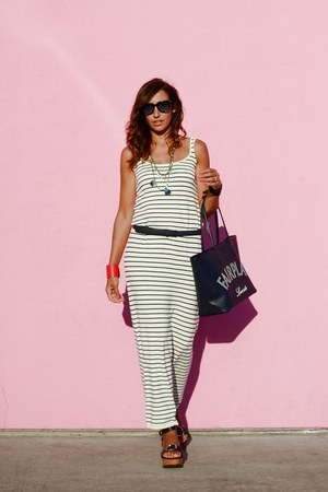 navy firmoo sunglasses - blue Zara dress - navy Bag bag - black Uterque sandals
