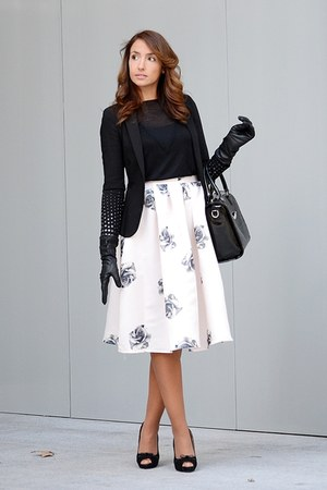 light pink Choies skirt - black Zara sweater - black Zara blazer