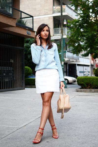white zara skirts sky blue shirt denim shirts hoss