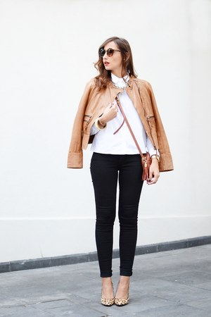burnt orange Mango jacket - black Levis jeans - white Mango shirt