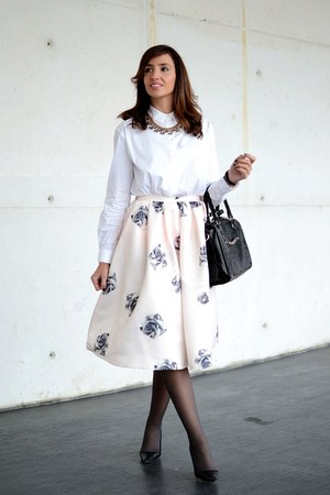light pink Choies skirt - off white Mango shirt - black Manolo Blahnik heels