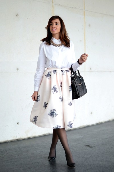 light pink Choies skirt - off white Mango shirt - black Manolo Blahnik heels