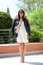 off white Promod dress - black Mango jacket - red LK Bennett sandals