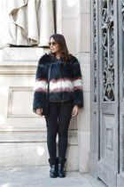 black liu jo coat - black Rich & Royal jeans - black Levis bag