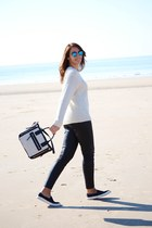 ivory Mango bag - ivory c&a sweater - black Mango pants - black Mango sneakers