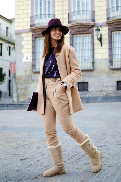 camel Ugg boots - camel Mango coat - maroon DAY A DAY hat