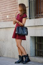 ruby red Koralline dress - black Zara boots - black Loeds bag