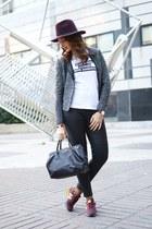 black Mango pants - maroon DAY A DAY hat - off white Like aPrincess t-shirt