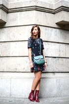 ruby red Zara boots - black Zara dress - dark green Zara bag