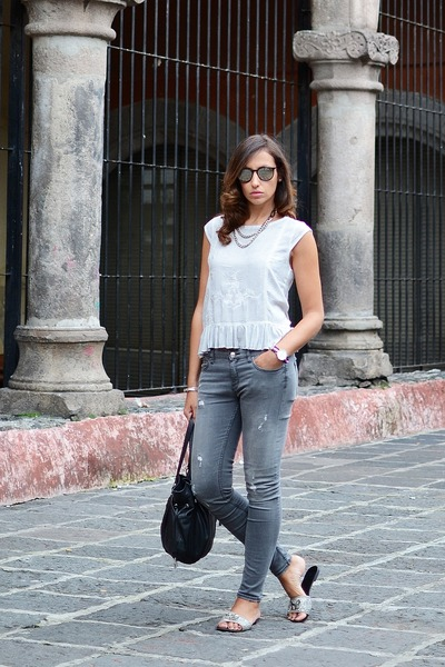 heather gray Zara jeans - silver Mango shirt - black Tous bag