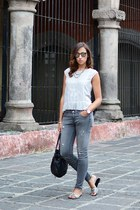 heather gray Zara jeans - silver Mango shirt - black Tous bag