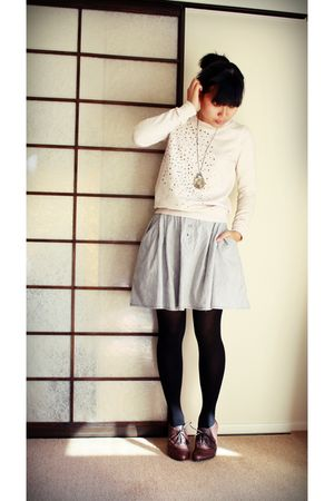 beige Glassons sweater - blue skirt - brown shoes