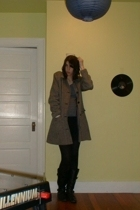 black thrifted Steve Madden boots - gray mamas coat - blue Old Navy shirt - blac