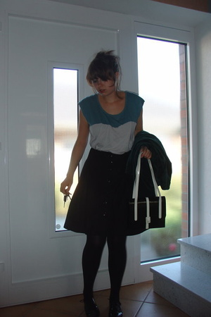 American Apparel shirt - H&M skirt - penny loves kenny shoes - Secondhand purse