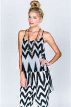 Bardot Chevron Black and White Printed High Low Tank