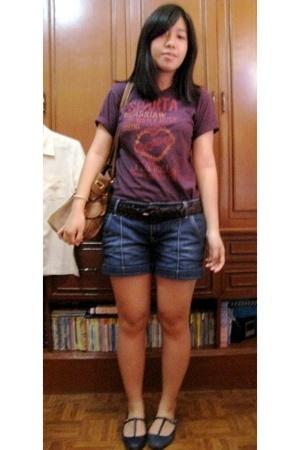 shirt - Mango shorts - landmark belt - Topshop shoes - random HK purse