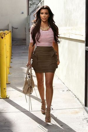 brown Bebe skirt - white H&M top - brown Christian Louboutin shoes - balenciaga