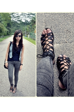 new look jeans - - vest - Topshop top - rubi shoes - rayban accessories - diva a
