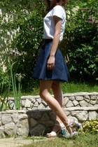 white unknown t-shirt - navy handmade skirt - white thrifted heels