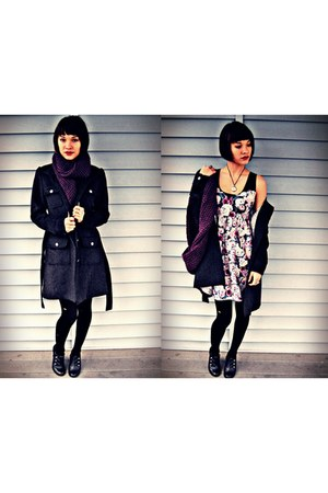 Urban Outfitters dress - H&M coat - lined unknown tights - infinity unknown scar