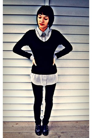 black unknown jeans - black v-neck Mossimo sweater - white unknown shirt