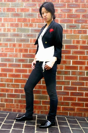 vintage blazer - Agent 99 shirt - Sportsgirl jeans - DIY necklace - I love Billy