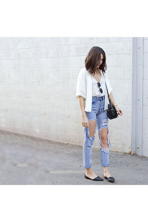 white blazer WalG blazer - ripped jeans Boohoo jeans - Forever 21 purse
