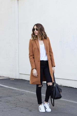 coat Make Me Chic coat - jeans Topshop jeans - sneakers Adidas sneakers